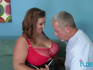 BBW Sindy Davis fucks older guy who loves to be her caring feeder daddy