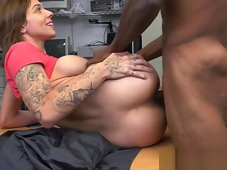 Auditioning tattooed beauty loves black cock