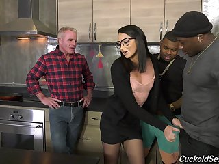 Nasty interracial threesome for cuckold husband - Avi Love