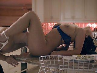 Emotional black head with juicy tits Abigail Mac bangs till dude cums hard