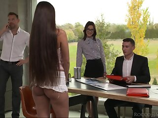Nerd secretary Mina K gets double penetrated after cunnilingus