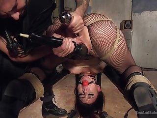 Horny Mandy Muse enjoys hardcore sex games while she hangs tied