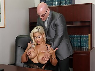 Buxom Bridgette B. does not keep things platonic in the workplace