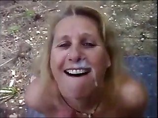 Mature wife dogging sucking stranger dick and get a big facial